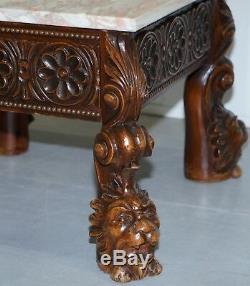 18e Superbe Siècle Style Side Table Tête De Lion En Bois Sculpté Jambes Marbre Top