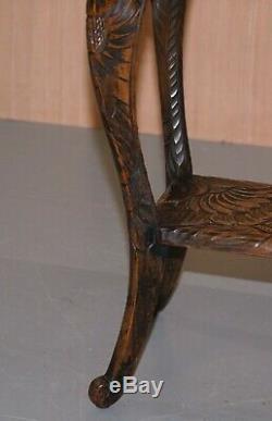 1905 Japonais Londres Liberty Sculpté Side Table Jardinière Plante Stands Bust