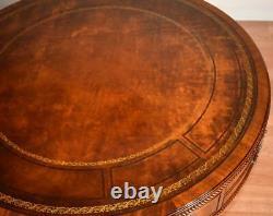 1910 Antique Weiman Anglais Chippendale Ahogany Haut En Cuir Center Hall Table
