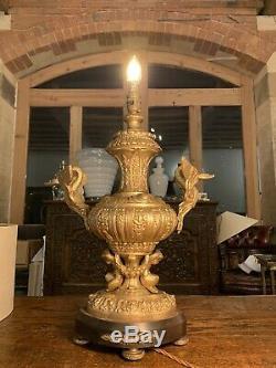 1920 Antique Espagnol Gilded Laiton Massif Ornement Lampe De Table, Rococo, Baroque