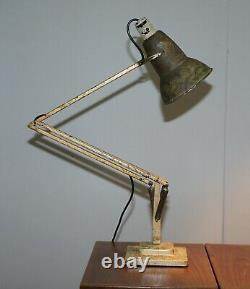 1938 Herbert Terry Modèle 1227 Anglepoise Articulated Table Lamp Marbled Paint