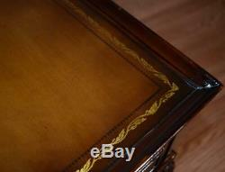 1940 Paire De Chippendale En Acajou En Cuir Chevets / Tables D'appoint