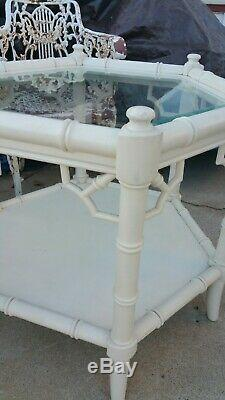 2 Vintage Chinois Chippendale Faux Bambou Hollywood Regency Tables Shabby Chic $