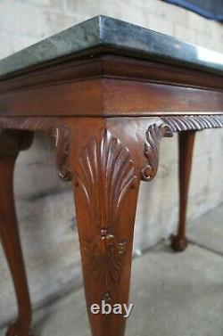 2 Vintage Chippendale Style Acajou Sculpté De Marbre Hall Tables Console Claw