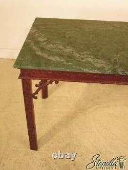 28728f Chinese Chippendale Green Marble Top Ahogany Bibliothèque Table
