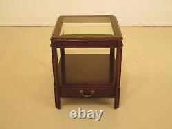 47840ec Century Glass Top Cherry Chippendale Fin De Table