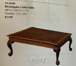 48 W X 36 D X 17 Haute Ethan Allen 18ème Siècle Acajou Table Basse