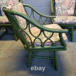 5 Pc Mid-century Chippendale Ficks Reed Rattan Dining Set Table 4 Chaises Pivotantes