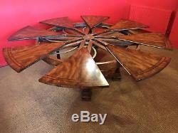 5 Pieds À 7.11 Superbe Table À Manger Circulaire Circulaire Jupe Sunburst Flame Acajou Jupe