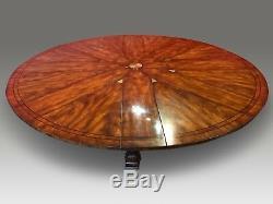 5ft Incroyable De 7,11 Sunburst Flamme Acajou Circulaire Grande Jupe Table À Manger