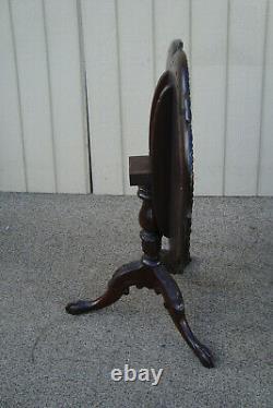 60606 Charak Main Faite Solide Acajou Tilt Top Lampe Table Stand Qualité