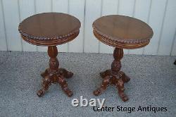 60888 Paire Solide Acajou Lampe Table Stand End Tables De Chevet
