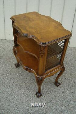 60939 Burled Wood Bibliothèque Lamp Table Stand With Claw Foot
