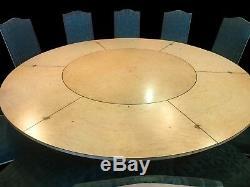 7.6ft Étonnant Ronce De Noyer Table Jupe Circulaire, Pro Français Poli