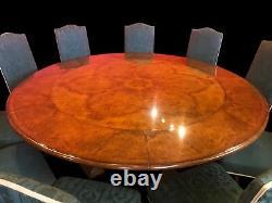 7.6ft Incroyable Burr Walnut Jupe Table À Manger Circulaire, Pro Français Poli