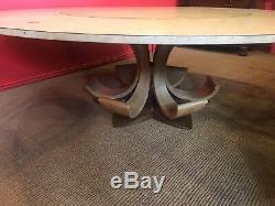 7.6ft Superbe Ronce De Noyer Table Jupe Circulaire, Pro Français Poli