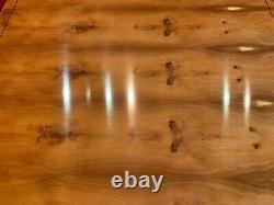 7ft Amazing Designer Art Deco Style Burr Yew Table À Manger D'arbre Français Poli