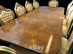 8.6ft Ronce De Noyer Superbe Style Régence Table, Pro Français Poli