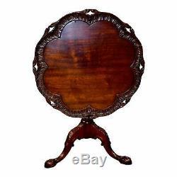 Acajou Antique Sculpté Style Chippendale Tilt Top Table