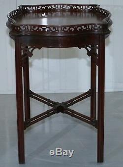 Acajou Chinois Chippendale Argent Thé Occasionnel Table Chantourner Travail Sculpté Famboo
