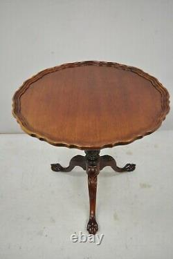 Acajou Pie Crust Ball Et Griffe Georgian Chippendale Style Tilt Top Table De Thé