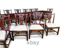 Amazing 14ft Triple Piédestal Regency Style Table À Manger Acajou Brésilien