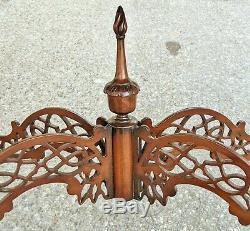 Anglais Antique Acajou Chinese Chippendale Pierce Sculpté Tea Console