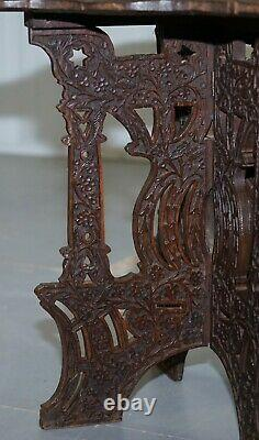 Anglo Burmese Main Sculptée 19ème Siècle Rosewood Antique Fin Lampe De Vin