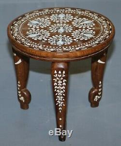 Anglo Indian Export Rosewood Elephant Marqueterie Fin De La Lampe À Vin Table Fleurs