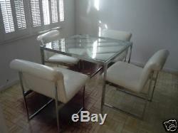 Années 70 D. I. A Table Chippendale Chinoise Avec Quatre Chaises, Chrome