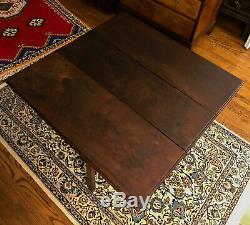 Antique 18ème Siècle Chippendale Noyer Table Abattants Expédition Disponible
