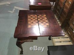 Antique Acajou Chippendale Table De Jeu Backgammon Echecs Dames Rare Inlay