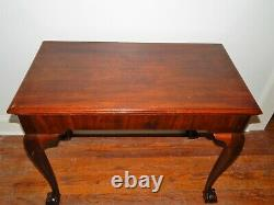 Antique Chippendale Ahogany Ball Claw Marble Top Console Mixing Side Table
