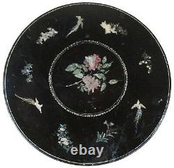 Antique Chippendale Style Black Lacquer Mop & Jade Inlaid Table À Thé Chippendale Chineserie