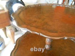 Antique, Chippendale/queen Anne Style Acajou & Burl Table À Thé, Dumbwaiter, A++