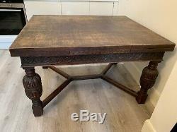 Antique Harrods Anglais Main Table Sculpture Oak Chaise À 1900 Chippendale