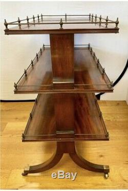 Antique Mahogany Tea Dessert Bar Chariot Sur Roulettes