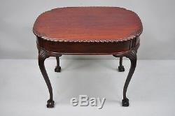 Antique Style Chippendale Corde En Acajou Sculpté Ball Et Claw Parlor Table D'appoint