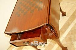 Antique Table De Jeu Victorienne Chippendale Goutte Éclisses En Acajou Échiquier Inlay