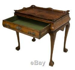 Antique Table, Thé, Style Chippendale Ronce, Fin Du 19ème C, 1800, Magnifique