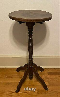 Antique Vintage Round Pedestal Tea Occasional Side Table Plant Stand 30