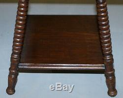Antique William & Mary Revival Victorienne Oak Canette Lampe De Vin De Table Turned Côté