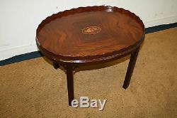 Antiquité Councill Craftsman Mahogany Chippendale Table De Lampe D'appoint De Café