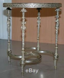 Argent Rare Plaqué Sculptée Empire Français Style Marbre Surmonté Occasional Table