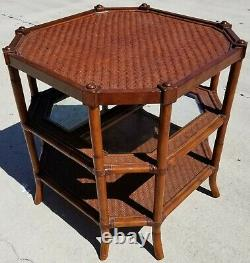 Asian Chippendale Style 3 Tier Bamboo Rattan Witan Glass Side Table Occasionnelle