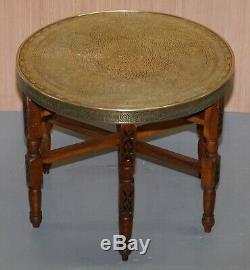 Autour De Collection 1920-1940 Laiton Persan Marocain Garnie Table D'appoint Pliante