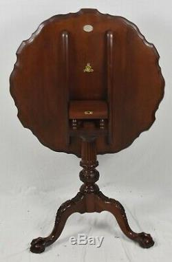 Baker Acajou Chippendale Plateau Tilt Top Table À Thé Occasion Table Claw & Ball