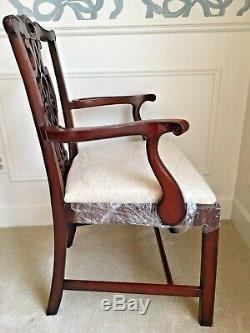 Baker Furniture Acajou Chippendale Historique Charleston Fauteuil New Upholster
