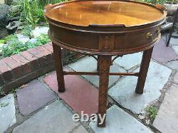 Baker Furniture Round Chippendale Acajou 1 Table D'extrémité Du Tiroir