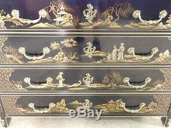 Baker Stately Homes Peinture Noire Ornée Chinoiserie Ou Poitrine W Commode Bronze Doré